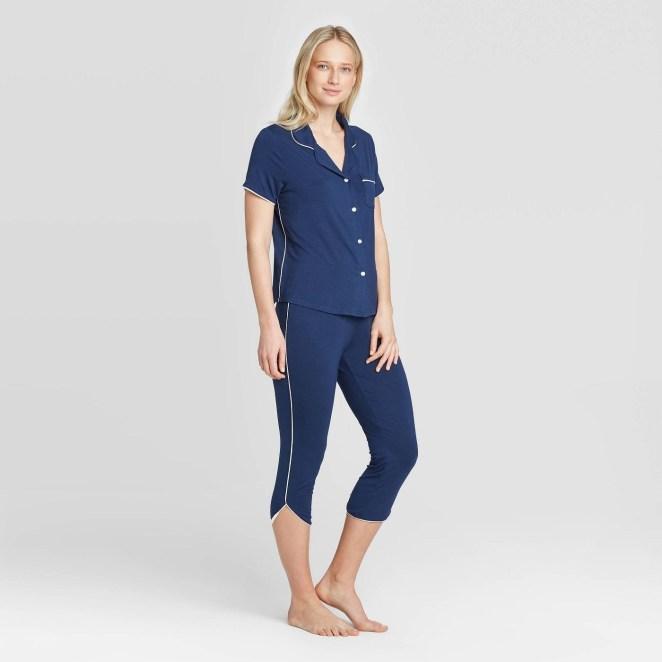 A model wearing blue pajamas