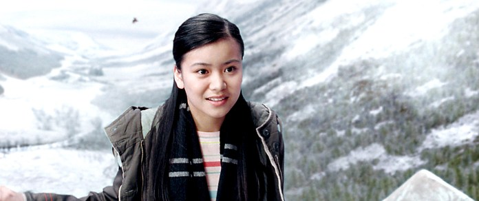 Leung with snow-capped mountains behind her in Harry Potter and the Goblet of Fire