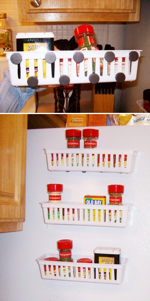 Stick magnetic racks to the side of your fridge.