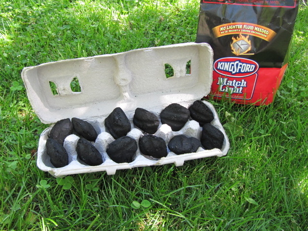 Make an easy-to-carry fire starter with a cardboard-only egg carton and match light charcoal.