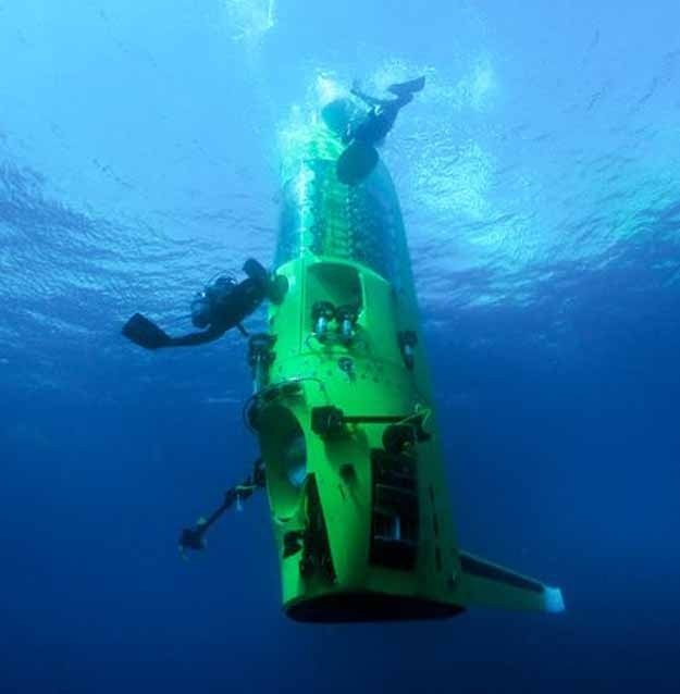"""Cameron was the first solo human to reach the bottom of the Mariana Trench. At 6.8 miles deep, it is perhaps more a more alien place to scientists than some foreign planets are. The 2.5-story """"vertical torpedo"""" sub descended over a period of two and a half hours before taking a variety of samples."""