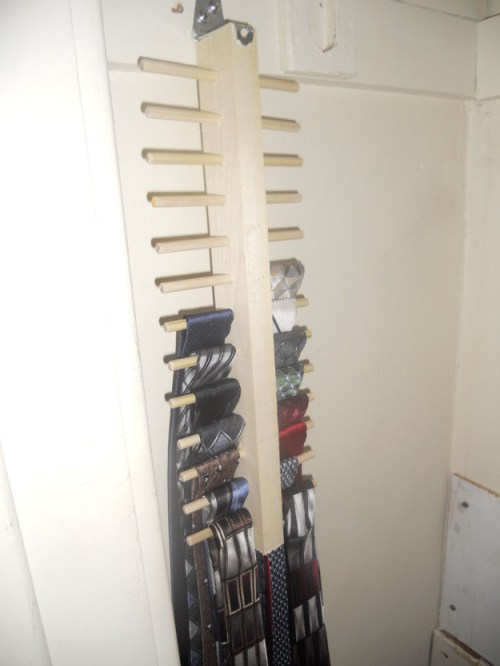 For ties (which hang super flat), stick the tie hanger up against the wall.