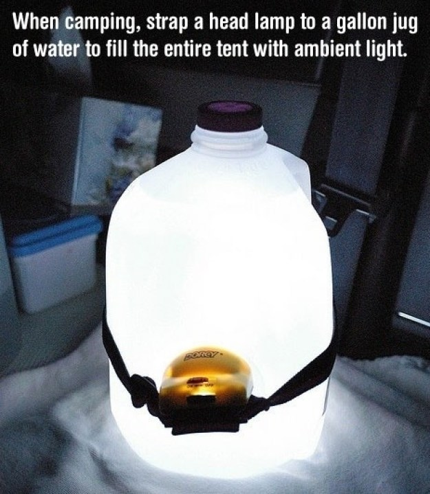 Point a head lamp into a jug of water for an instant lantern.