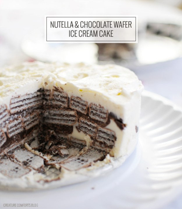 Nutella & Chocolate Wafer Ice Cream Cake