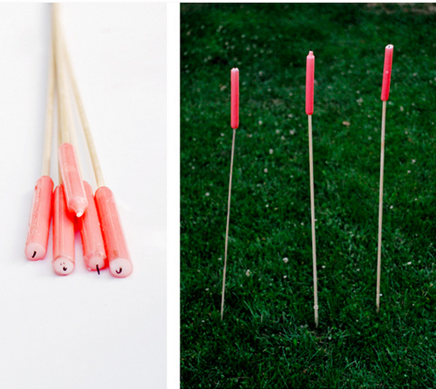 Make candle stakes for romantic nighttime lighting.