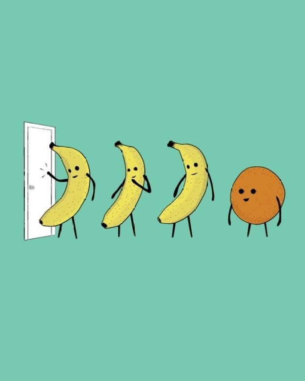 Three Bananas and an Orange