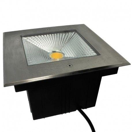 spot led encastre de sol carre inox 20w 230v qinox 210mm