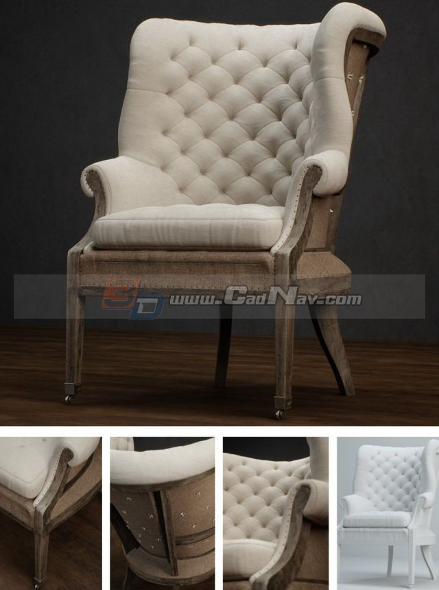 Antique Furniture Living Room Sofa Chair 3d Model 3DMax Files Free Download Modeling 3368 On