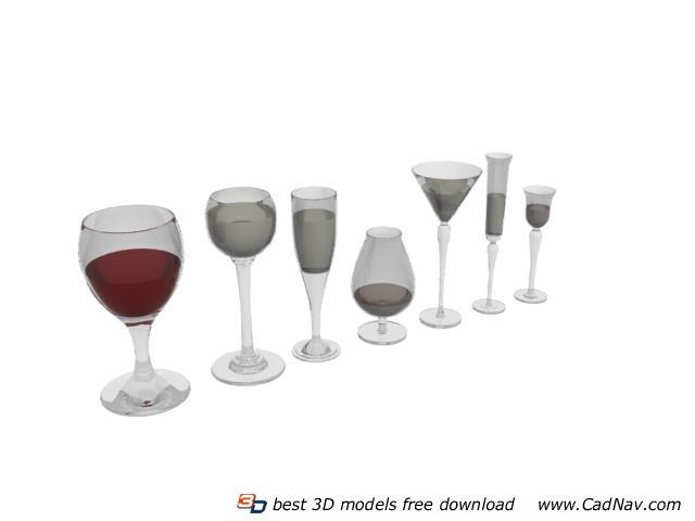 Wine Glasses And Cocktail Glasses 3d Model 3DMax Files Free Download Modeling 5172 On CadNav