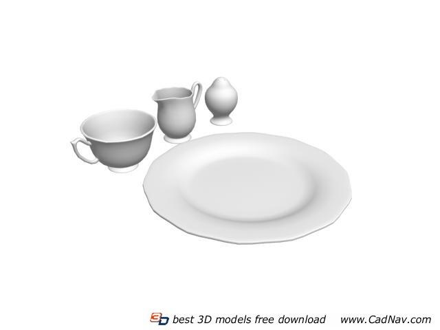 Pizza Plate Seasoning Bottle Tableware Set 3d Model 3DMax