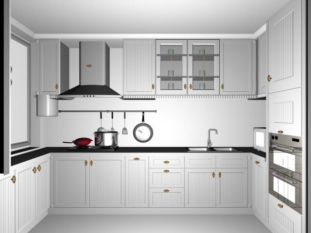Small white kitchen design 3d model 3dsMax files free ... on Model Kitchen Design  id=42162