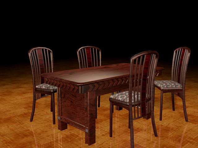 Traditional Redwood Dining Sets 3d Model 3ds Max Files