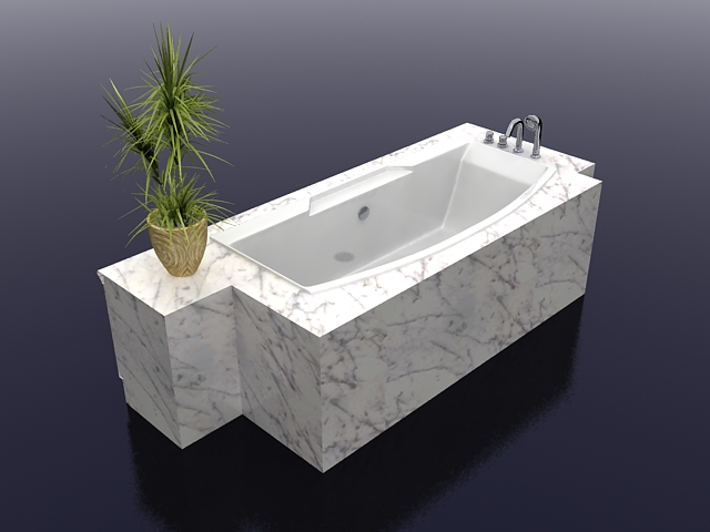 White Marble Bathtub 3d Model 3ds Max Files Free Download