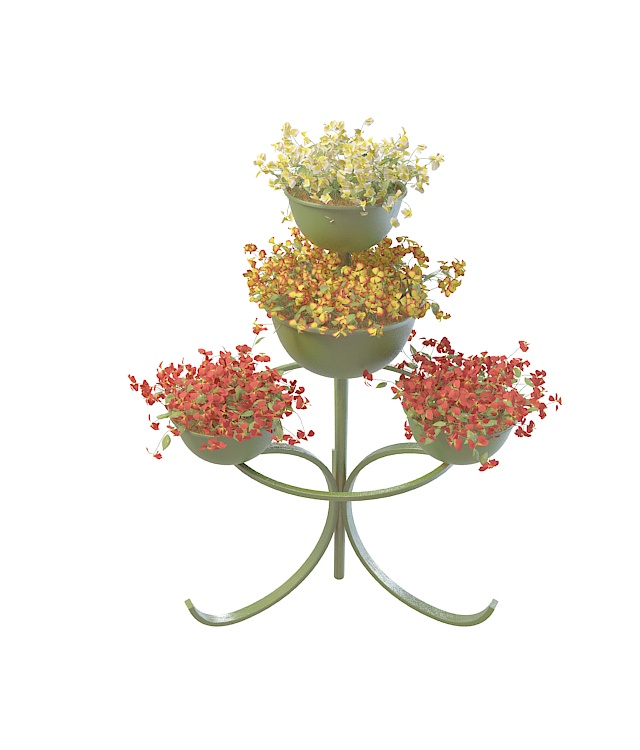 Metal Plant Stand With Decorative Flowers 3d Model 3ds Max Files Free Download Modeling 31388