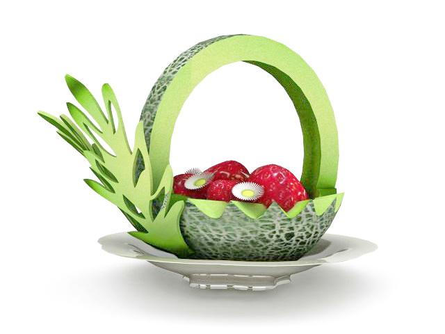 Carved Melon Fruit Carving Platter 3d Model 3ds Max Files