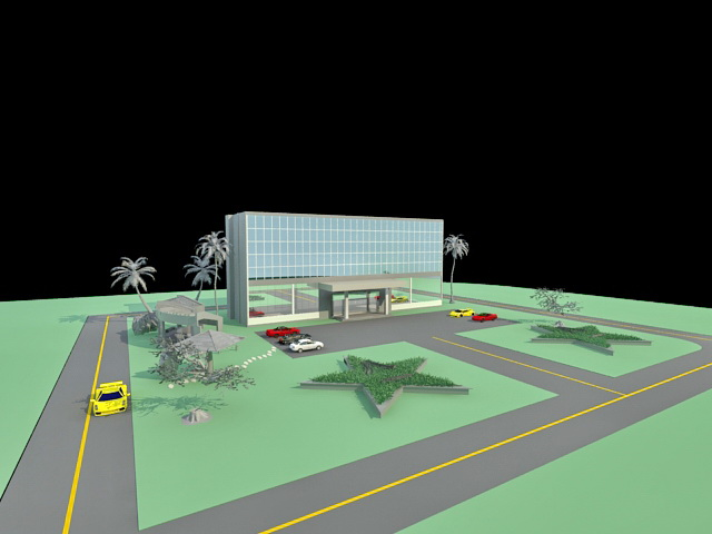 Office Building And Parking Lot 3d Model 3ds Max Files Free Download Modeling 33034 On CadNav