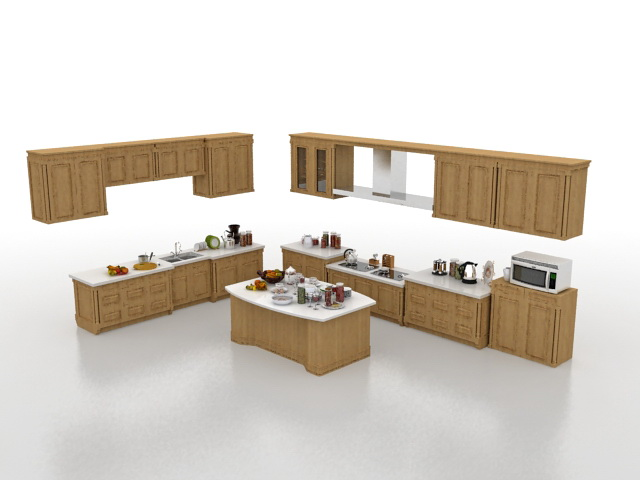 L-shaped kitchen with island 3d model 3ds Max files free ... on Modern:ln_Sacsp1Ua= Kitchen Model  id=41142