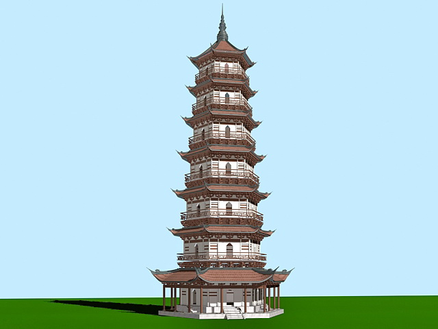 Ancient Chinese Pagoda 3d Model 3ds Max Files Free
