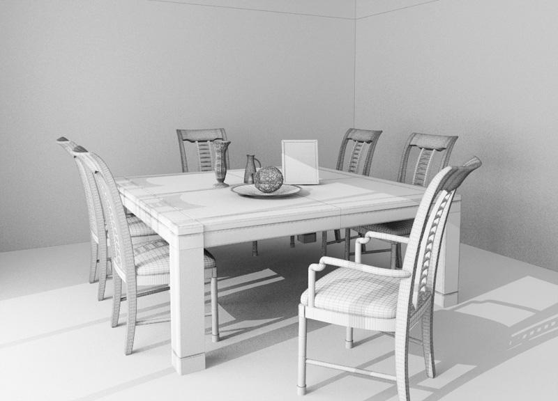 Family Dinner Table Set 3d Model 3D Studio3ds Max Files