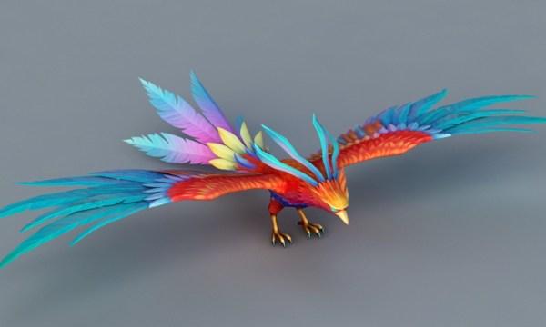 Rainbow Phoenix Bird 3d model 3ds Max files free download ...