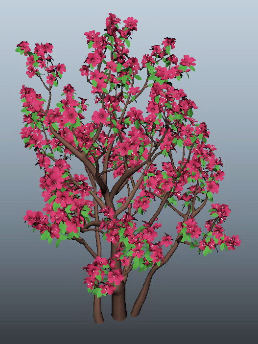 Azalea Tree 3d Model Maya Files Free Download Modeling