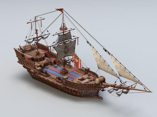 Ancient Sailing Vessel 3d Model 3ds Max Files Free
