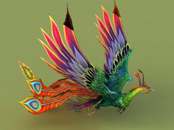 Rainbow Phoenix Animated & Rig 3d model 3ds Max files free ...