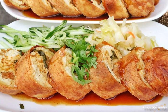 一品香臭豆腐│創意春捲臭豆腐,外脆內軟,餡料滿滿,素食也能享用~