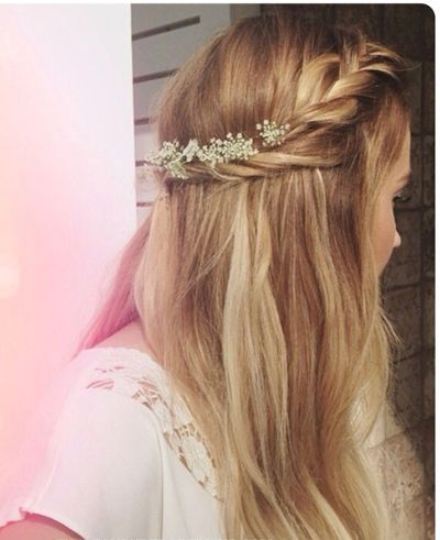 Blonde Braided Half Updo Prom Wedding Formal