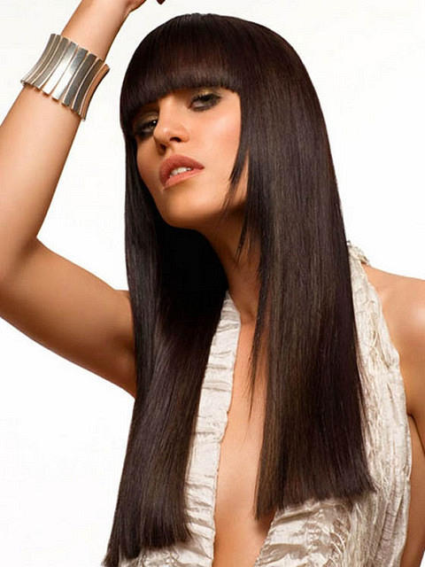 Long Hairstyle With Blunt Bangs Party Evening Everyday