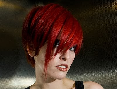 Red Asymmetrical Cropped Hairstyle Party Summer