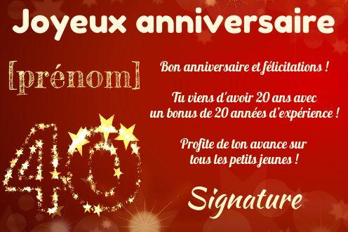 Texte humoristique pour anniversaire 40 ans experts. Carte Anniversaire Joyeux 40 Ans Jaune gratuit à imprimer ...