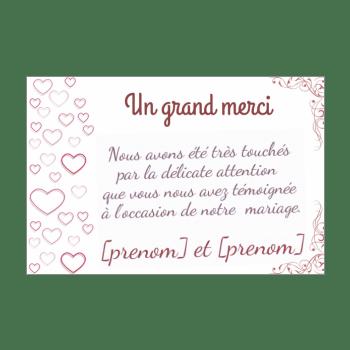 carte de remerciement pour un mariage a