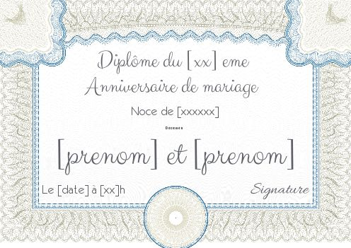 diplome anniversaire mariage noce