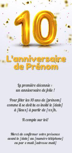 invitation anniversaire 10 ans doree