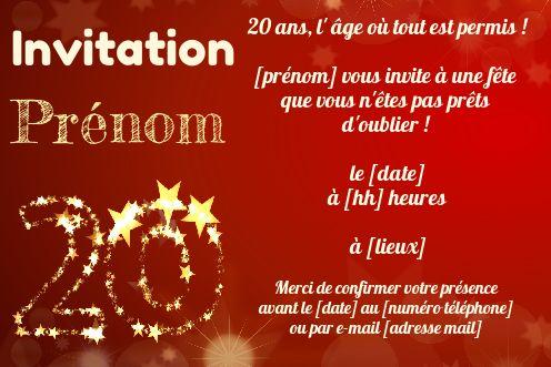 invitation anniversaire 20 ans jaune