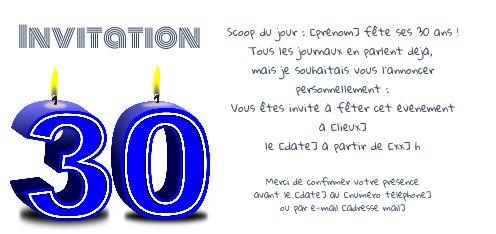 invitation anniversaire 30 ans bleu