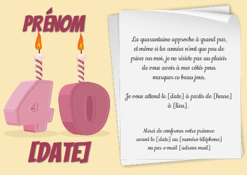 invitation anniversaire 40 ans bougie