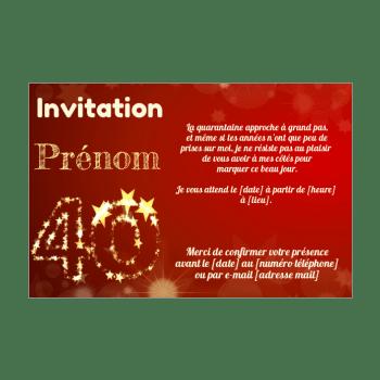 invitation d anniversaire 40 ans