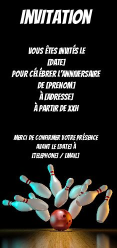 carte invitation anniversaire bowling