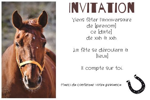 carte invitation anniversaire cheval