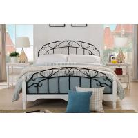 High End Wrought Iron Queen Bed , White Metal Frame Double