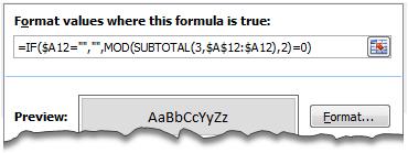 Zebra Lines using Conditional Formatting