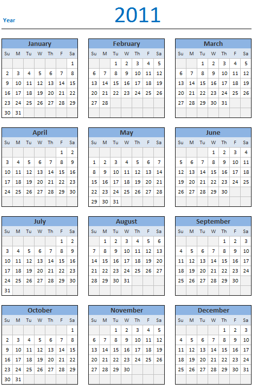 Free 2011 Calendar - Download and Print Year 2011 Calendar today - Excel Spreadsheet Template for Yearly Calendar [2011]