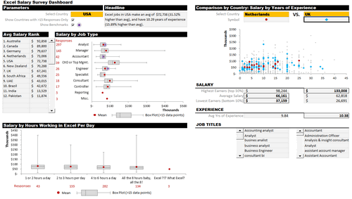 Dashboard to visualize Excel Salaries - by Michael Yager - Chandoo.org - Screenshot