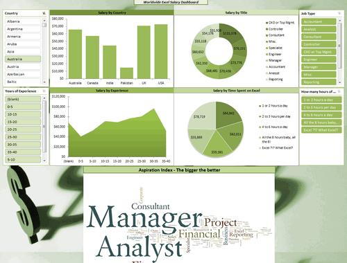 Dashboard to visualize Excel Salaries - by Umang Merwana - Chandoo.org - Screenshot