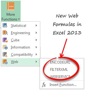 Excel 2013 Web Formulas - an overview