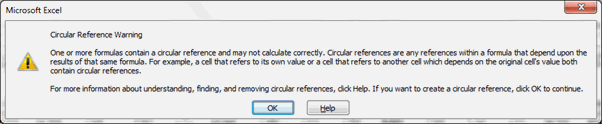 Circular Reference Warning - Excel's Auditing Functions