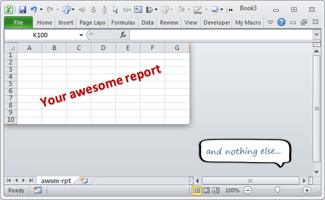 Show only few rows & columns in your Excel reports