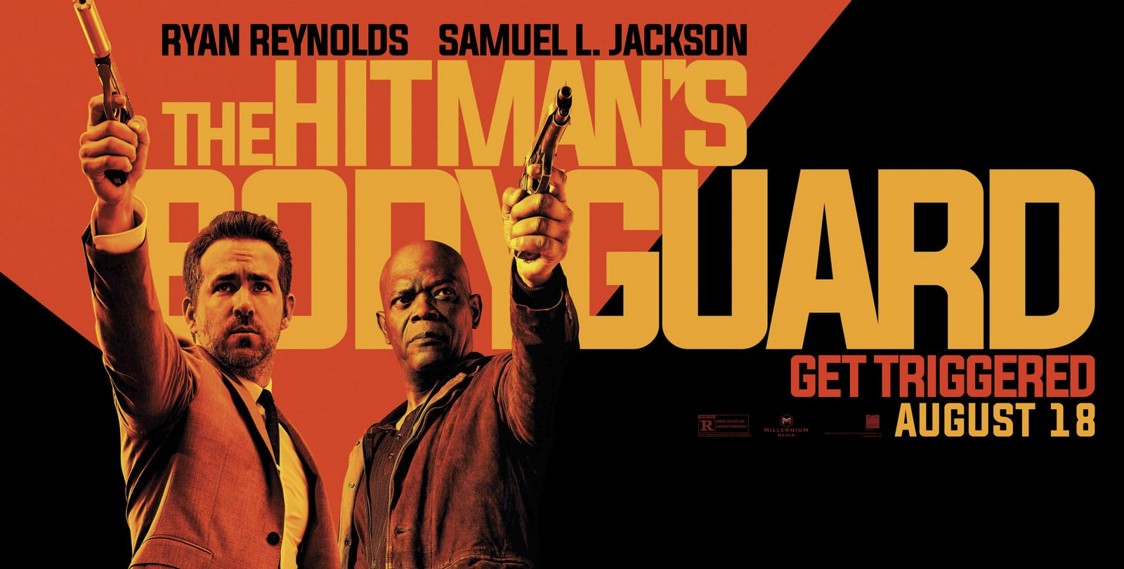 Movie, The Hitman's Bodyguard(美國, 2017) / 殺手保鑣(台) / 鑣救殺手(港) / 杀手的保镖(網), 電影海報, 美國, 橫版